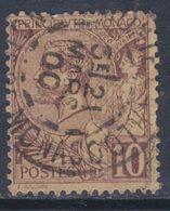 MONACO N° 14 O   Prince Albert  : 10 C. Lilas-brun Sur Jaune  Oblitération Assez Belle, TB - Monaco