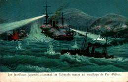 Les Torpilleurs Japonais Attaquent Les Cuirassés Russes Au Mouillage De Port-Arthur - Warships