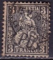 Switzerland / Schweiz / Suisse : 1862 Sitzende Helvetia WZ 1 3 C Grauschwarz Michel 21 - Oblitérés