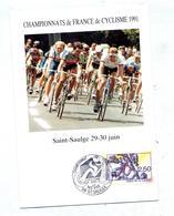 Carte Cachet Saint Saulge Championnat Cyclisme Vue Peloton - Poststempel (Briefe)