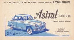 BUVARD Les Automobiles Françaises Collection Offerte Par ASTRAL CELLUCO, SIMCA 4 CV - Automobile
