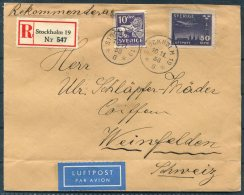 1938 Sweden Registered Stockholm 50 Ore Luftpost Airmail Cover - Weinfelden Switzerland. - Sweden