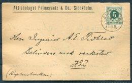1887 Sweden Palmorrantz & Co. Aktiebolaget Stockholm Folding Letter 5ore Ring Type Cover - Sweden