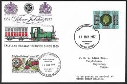 1977 - GREAT BRITAIN - Cover [FDC] + Railway + SG 1033 + DYDD CYHOEDDIAD CYNTAF - 1971-1980 Em. Décimales