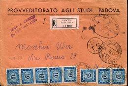 39029 Italia, Busta Viaggiata  Raccom. Da Padova A Carrara San Giorgio 1953, Segnatasse, Segnatasse - Postage Due