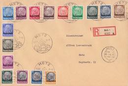 Lettre Rec (Metz 1 A 480) Oblitéré De Metz (T 340 Metz C) Sur TP Lothr Série Complète Le 1/8/41 - Postmark Collection (Covers)