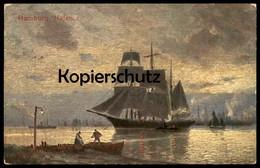 ALTE KÜNSTLER POSTKARTE HAMBURG HAFEN ABEND AUF DER REEDE Schiff Ship Ansichtskarte AK Postcard Cpa Photo - Mitte