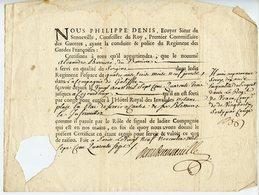 193. PHILIPPE DENIS DE SENNEVILLE. ECUYER CONSEILLER DU ROY. CERTIFICAT 1747 ENTREE D'UN ANCIEN COMBATTANT AUX INVALIDES - Documents