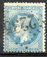 FRANCE - 1868 - Second Empire - Napoléon III Lauré - N° 29Ba - 20 C. Bleu Foncé - (Oblitération : Losange Gros Chiffres) - 1863-1870 Napoléon III Lauré