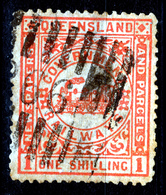 QUEENSLAND  1901  1 SHILLING CANCELLED BARS 266    GOVERNEMENT RAILWAYS        TRAIN - 1860-1909 Queensland