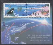 Chile 1990 Antarctica / Penguins / Whale M/s ** Mnh (40973F) - Chili