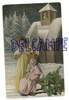 Joyeux Noël. Deux Anges Dans La Neige. Eglise, Sapins. 1909. Glacée. Photo - Anges