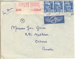 RARE- PAIRE +1 15F GANDON + CPLT AFFRANCHISSEMENT 19F TARIF PARTICULIER 64F LETTRE AVION CANADA 2è ECH 10/12/54 - Postmark Collection (Covers)