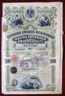 Estados Unidos Mexicanos 1898 . Obligation 5 % . 500 $ . Republica Mexicana . Mexico . - Shareholdings