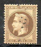 FRANCE - 1867 - Second Empire - Napoléon III Lauré - N° 30 - 30 C. Brun - (Oblitération : Losange Gros Chiffres) - 1863-1870 Napoleon III With Laurels