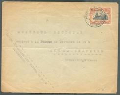 OC 35 Centimes Surch. ALLEMAGNE DUITSCHLAND Obl. Sc POSTES MILITAIRES BELGIQUE 3 Sur Lettre Du 15-IV-1923 Vers Aix-la-Ch - WW I