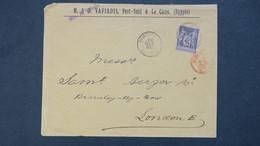 Sage Seul Sur Lettre A En Tete De Port Said Egypte Pour Londres 1896 Voir Scan - Marcophilie (Lettres)