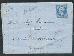 FRANCE 1864 N° 22 S/Lettre Obl. GC 3724 Saint Loubes - 1862 Napoleon III