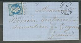 FRANCE 1863 N° 22 S/Lettre Obl. GC 769 Castillon S/Dordogne - 1862 Napoleon III