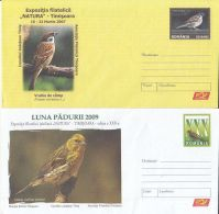 6975FM- TREE SPARROW, EUROPEAN SERIN, BIRDS, COVER STATIONERY, 2X, 2007, ROMANIA - Sparrows