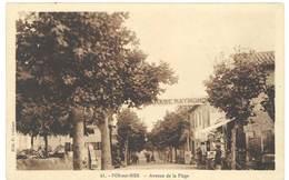 Cpa Fos Sur Mer Avenue De La Plage ( Garage Auto, Station Service, Essence Eco, Mobiloil ) - France