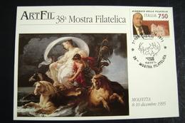 1995  MOLFETTA  CORRADO GIAQUINTO     PEINTURE  PITTURA QUADRI FDC MOSTRA FILATELICA FIRST DAY PREMIER JOUR MAXIMUM - Pittura & Quadri