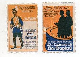 Y6078/ 2 X Reklamemarke  Otto Büttner, Franfurt  Zigarre Rauchen, Ca.1912  - Publicidad
