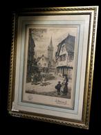 [ALSACE BAS-RHIN STRASBOURG SELESTAT] DESBUISSONS (Léon-Auguste-Jules) - Eau-forte : Vue D'Obernai. - Engravings
