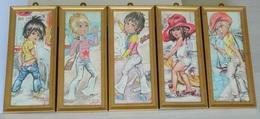 Lot De 5 Tableaux - Illustration JOLYLLE - SHELL - Jeunes Hommes Et Jeunes Filles - Vintage Board - Sexy - Non Classés