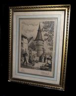[ALSACE BAS-RHIN STRASBOURG SELESTAT] DESBUISSONS (Léon-Auguste-Jules) - Eau-forte : Vue D'Ammerschwihr. - Engravings