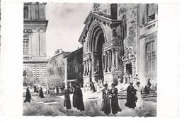 Cpsm Arles - Sortie De Messe, Porche De L'église St-Trophime ( D'après L'euvre De Léo Lelée ) - Arles
