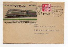 Y4821/ Brief S.A. Locomotive A Vapore Franco Eisenbahn Lokomotive Frankfurt 1950 - Railway