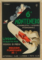 Car Automobile Grand Prix Postcard Livorno 1926 Montenero - Reproduction - Advertising
