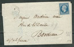 FRANCE 1859 N° 14 S/Lettre Obl. PC 575 Cadillac - 1862 Napoleon III