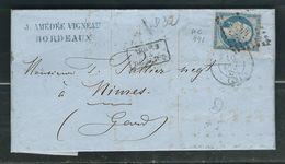FRANCE 1852 N° 14 S/Lettre Obl. PC 441 Bordeaux - 1862 Napoleon III