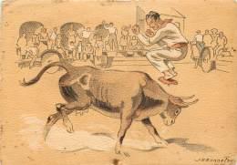 COURSE LANDAISE, L'ARENE AU VILLAGE - Illustration De J.H. BONNEFOY - France