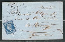 FRANCE 1861 N° 14 S/Lettre Obl. PC 501 Branne - 1862 Napoleon III