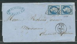 FRANCE 1862 N° 14 Paire S/Lettre Obl. PC 410 Blaye - 1862 Napoleon III