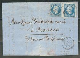 FRANCE 1860 N° 14 X 2 S/Lettre Obl. PC 410 Blaye - 1862 Napoleon III