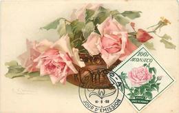 KLEIN CATHARINA (illustrateur) -  Fleurs Rose ,Monaco,premier Jour. - Klein, Catharina