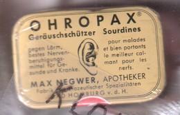 Petite Boite Métallique OHROPAX Geräuschschützez Sourdines  MAX NEGWER APOTHEKER BAD HOMBURG V. D. H. - Dessin Oreille - Matériel Médical & Dentaire