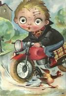 """1565 """" BAMBINO IN MOTO,SCANSA LA GALLINA - CON OCCHI CHE SI MUOVONO  """" CART. POST.  ORIG. NON SPED. - Contemporain (à Partir De 1950)"""