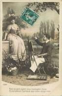 Themes Div-ref Y365- Artistes - Arts - Tableaux - Peinture - Carte Fantaisie -couple - Le Peintre  - Carte Bon Etat  - - Pittura & Quadri
