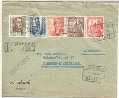 MATARO BARCELONA CC CERTIFICADA  SELLOS FRANCO Y AÑO SANTO - 1931-50 Briefe U. Dokumente