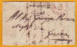 1810 - Lettre Avec Correspondance De Pavia Vers Genova Via Milano, Italia - Italie