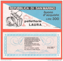 San Marino Buono Acquisto Da Lire 300 In Pelletteria Anno 1978 - Saint-Marin