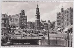 Amsterdam Muntplein Trams Oude Auto's Verkeer Fietsers       1477 - Amsterdam