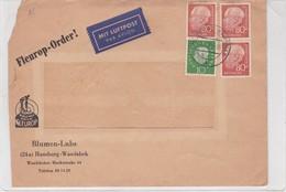 COMMERCIAL ENVELOPPE  PAR AVION BLUMEN LUBS. OBLITERE WANDSBEK 1960 - BLEUP - Cartas