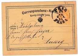 Entier Postal 1874 Prague Praha Tchécoslovaquie Československo Ústí Nad Labem Aussig Österreich-Ungarn - Brieven En Documenten