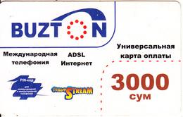 UZBEKISTAN - Buzton Prepaid Card 3000 Cym, Used - Uzbekistan